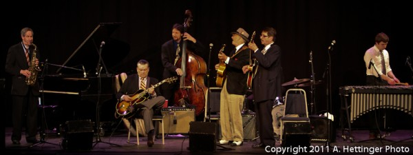 Gerry Beaudoin (second from right) with the J. Geils Jazz and Blues Review (From left: Fred Lipsius Saxophone, J. Geils Guitar, Jesse Williams Bass, Doug Bell Guita,r Les Harris Drums(hidden), Gerry Beaudoin Guitar, Gerard Beaudoid vibes)