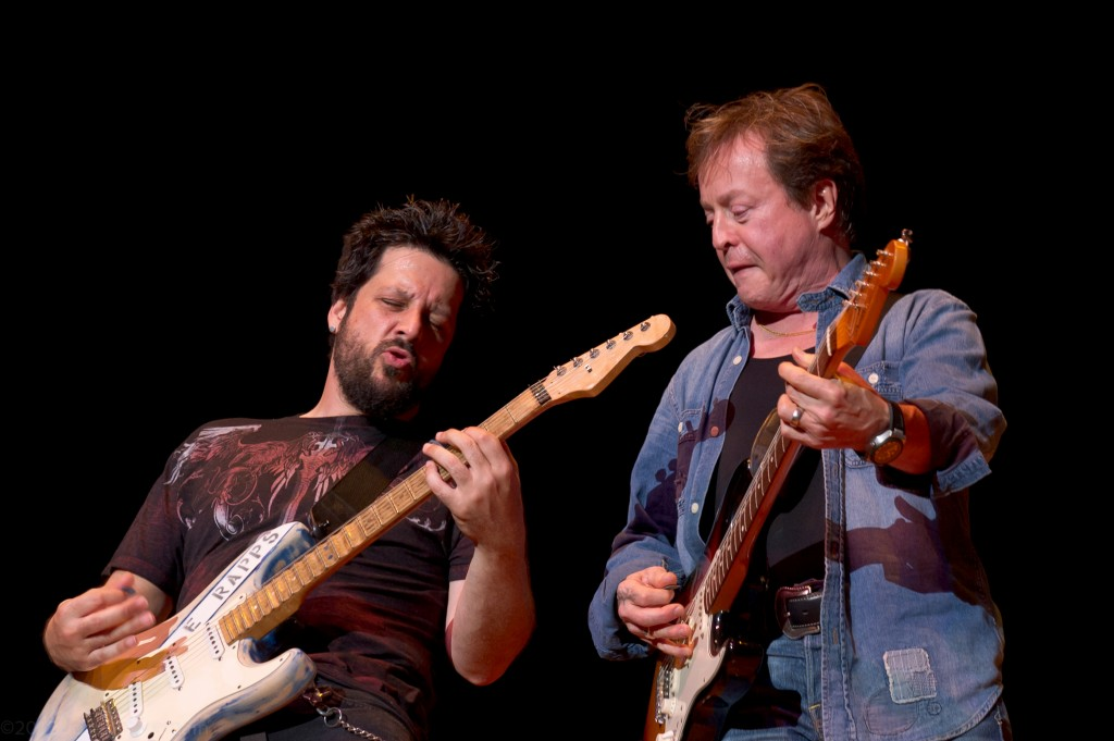 (L- R) Doug Rappoport trades licks with Rick Derringer - photo credit: Joseph C. Tremain Jr.