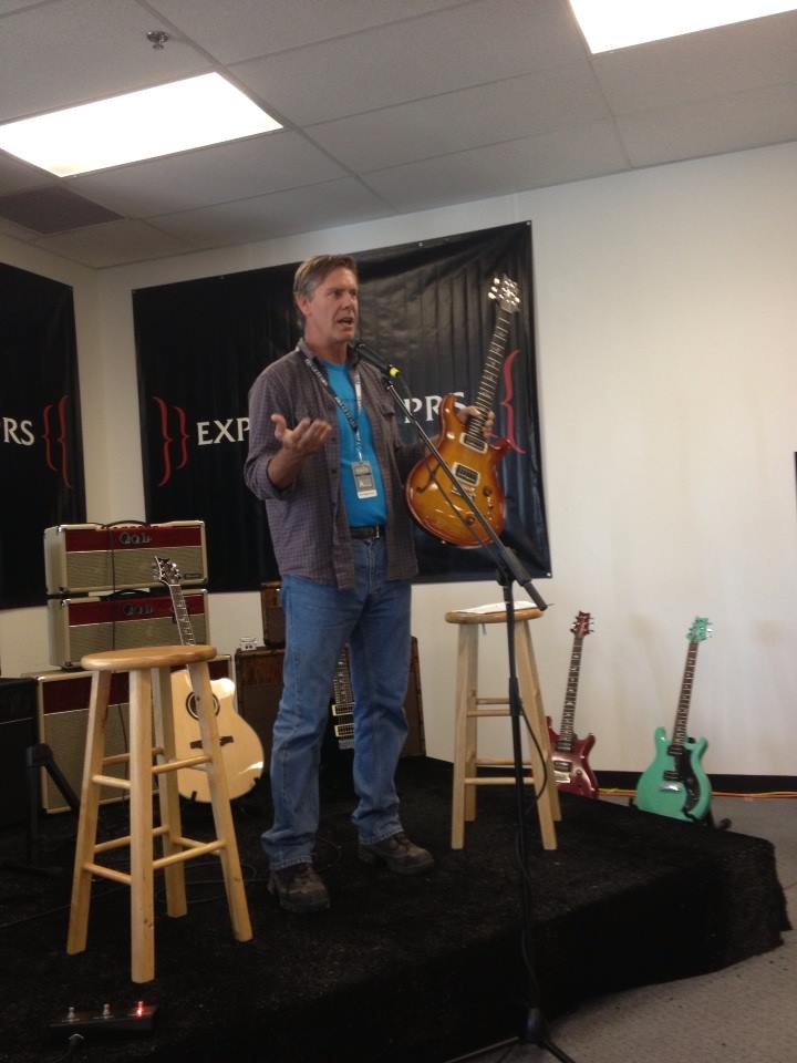 Jack Higginbotham, President of PRS talks to the media about new products and innovations at PRS Guitars.