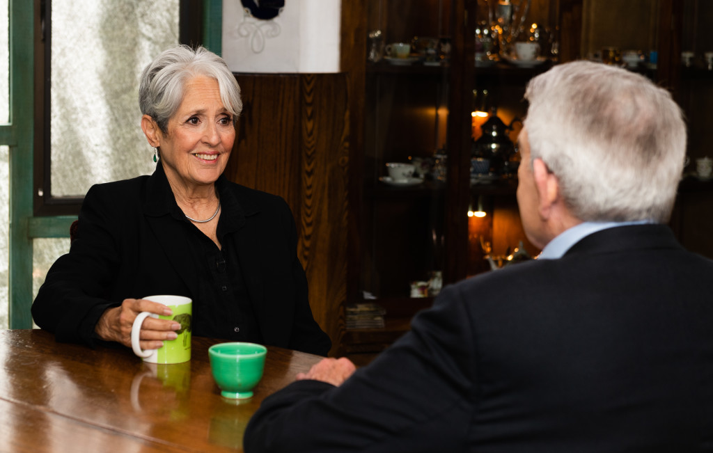 Joan Baez with Dan Rather on AXS TV - Photo credit: Stewart Marcano